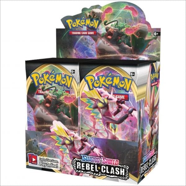 An image of a Pokemon sword and shield rebel clash booster box. Featuring 36 rebel clash booster packs.
