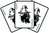 Cards for bards logo three fantasy cards