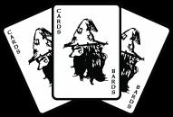 Cards for bards logo three fantasy cards